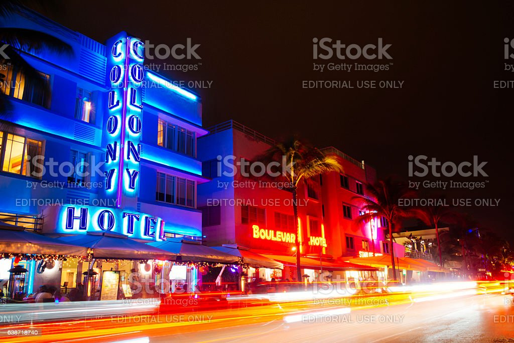 Historic Art Deco Architecture at Night Miami Florida Travel Destinations stock photo