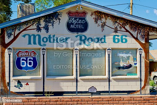 Seligman, Arizona, USA - July 30, 2020: The historic Aztec Motel is located along Route 66 in the heart of Seligman, Arizona.