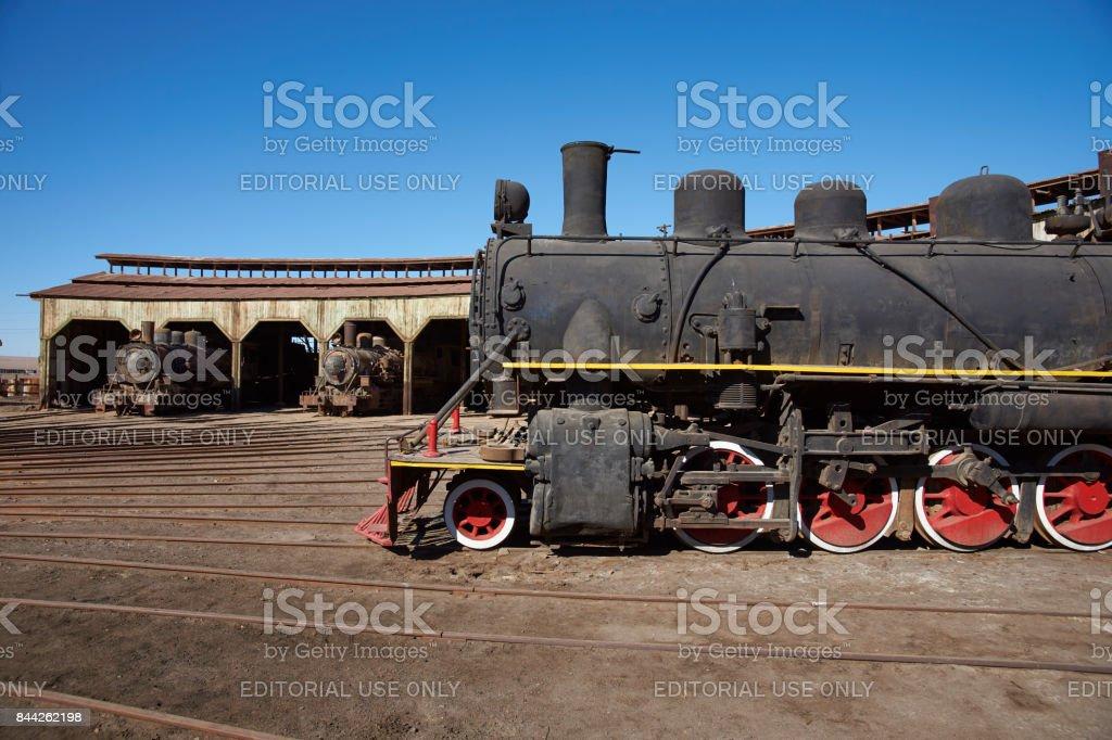 Historic Baquedano Engine Shed, Chile stock photo