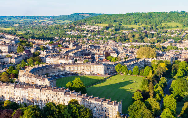 Historic Bath from the air Royal Crescent, one of Bath's most famous historic streets, and the lawns, parkland and other streets surrounding it. Photographed from a hot air balloon. somerset england stock pictures, royalty-free photos & images