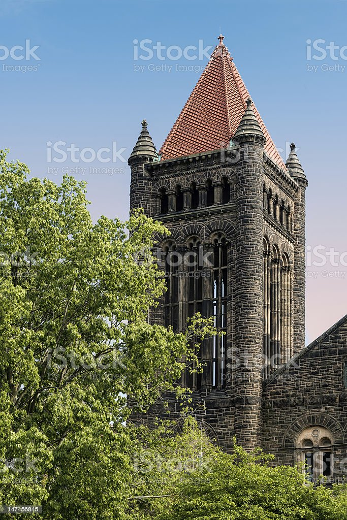 Historic bell tower of Altgeld Hall stock photo
