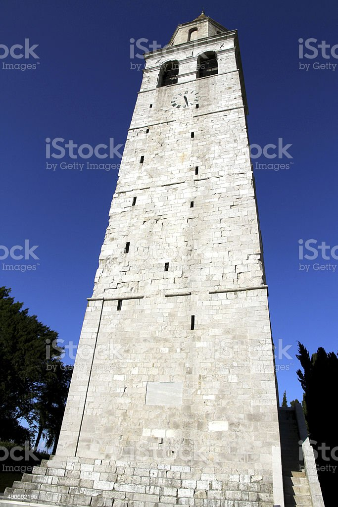 historic Bell Tower of the town of AQUILEIA stock photo