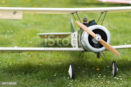 model airplane on meadow