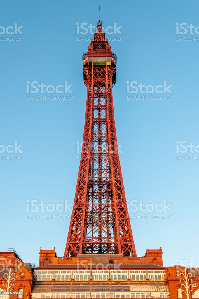Historic Blackpool Tower detail in Blackpool, Lancashire stock photo