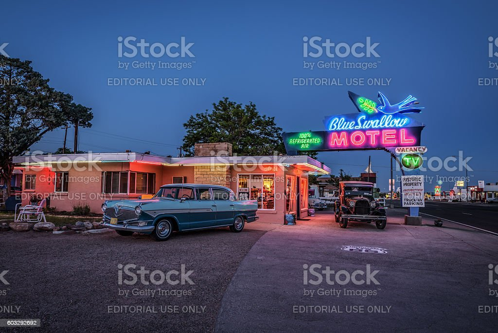 Historic Blue Swallow Motel in Tucumcari, New Mexico stock photo