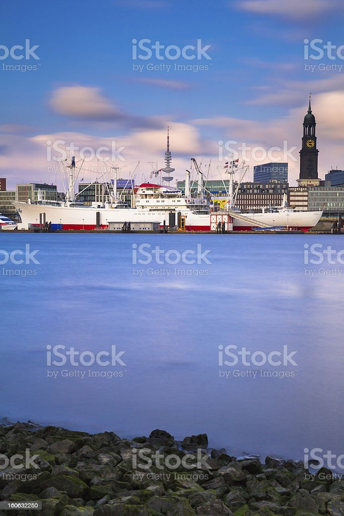 Historic boat in the harbour of Hamburg stock photo