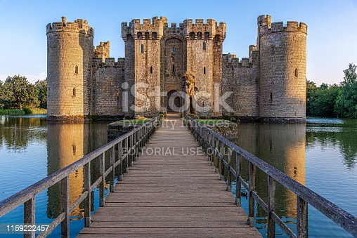 Bodiam Castle, East Sussex, England - August 14, 2016: Historic Bodiam Castle and moat in East Sussex