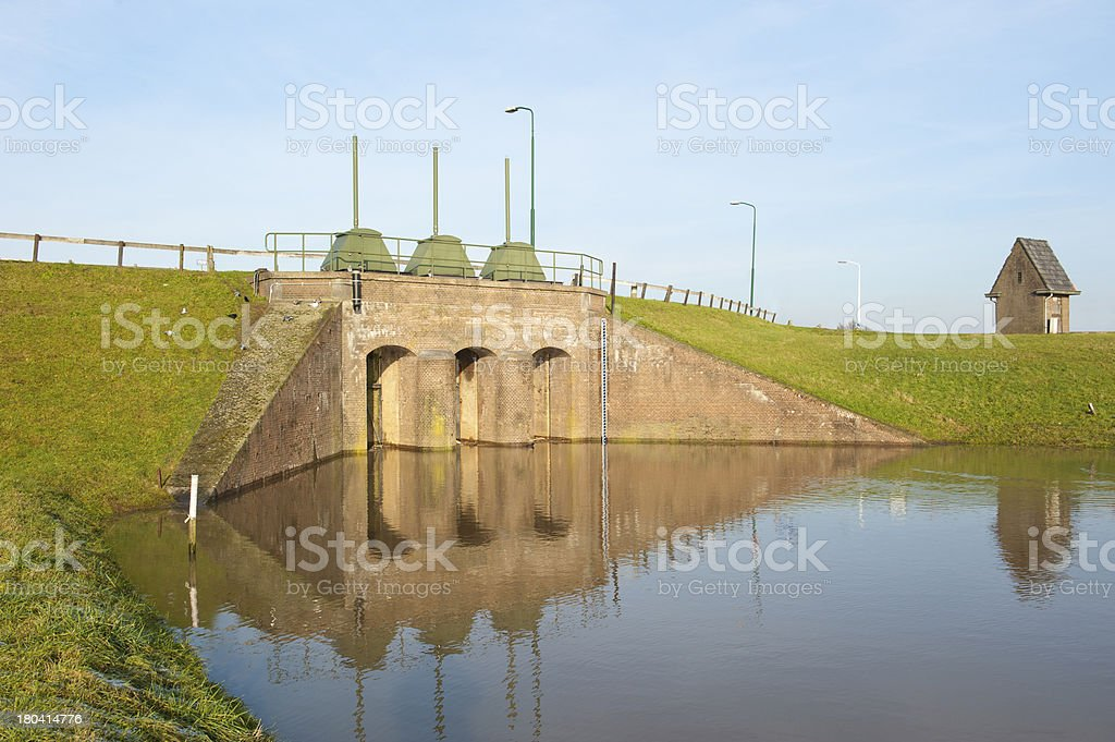 Historic brick river inlet built within dam stock photo