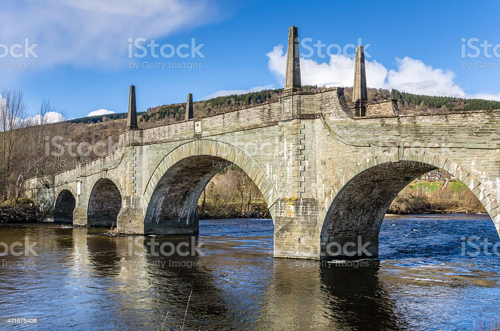 Historic Bridge in Scotland and Clear Sky stock photo