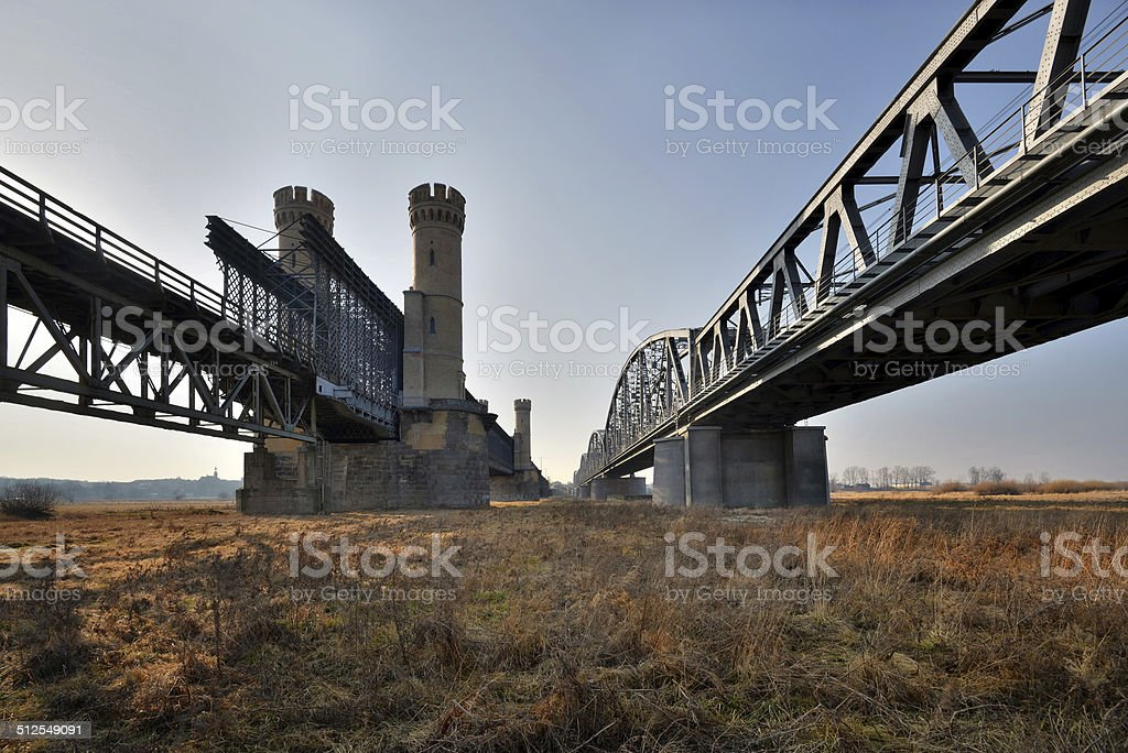 Historic bridges in Tczew - rail and road - Poland, Europe. stock photo