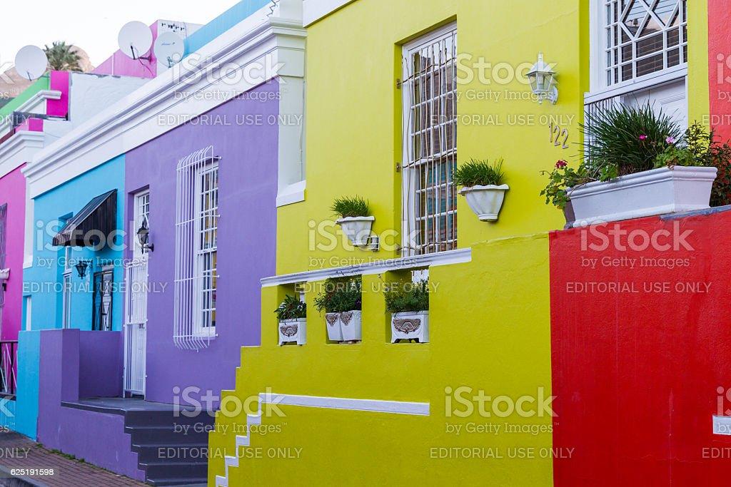 Historic Bright Doorsteps, Bo-Kaap stock photo