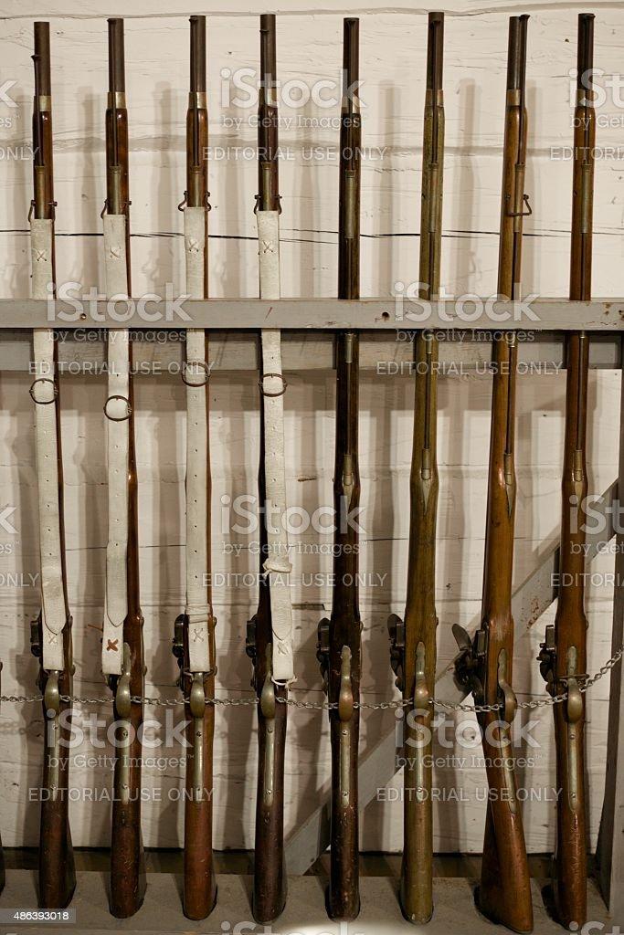 Historische britische Muskets-Fort George Park – Foto
