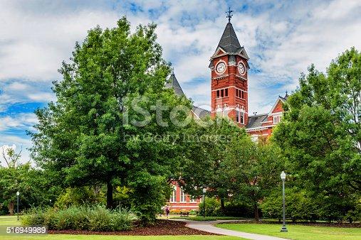 Historic building and campus at Auburn University in Auburn, Alabama