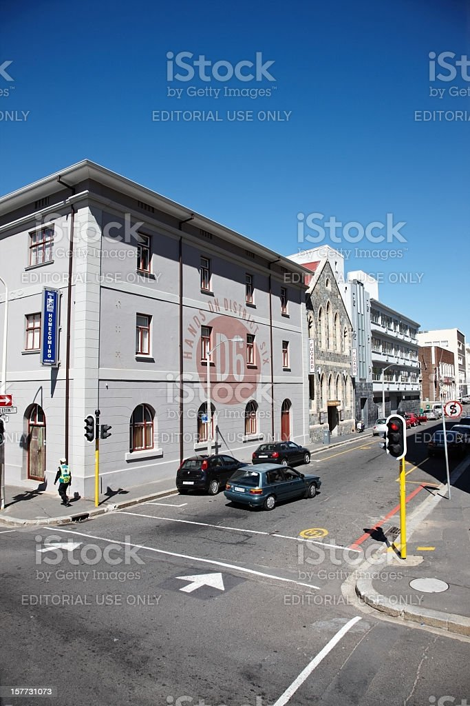 Historic building in District 6 of downtown Cape Town stock photo