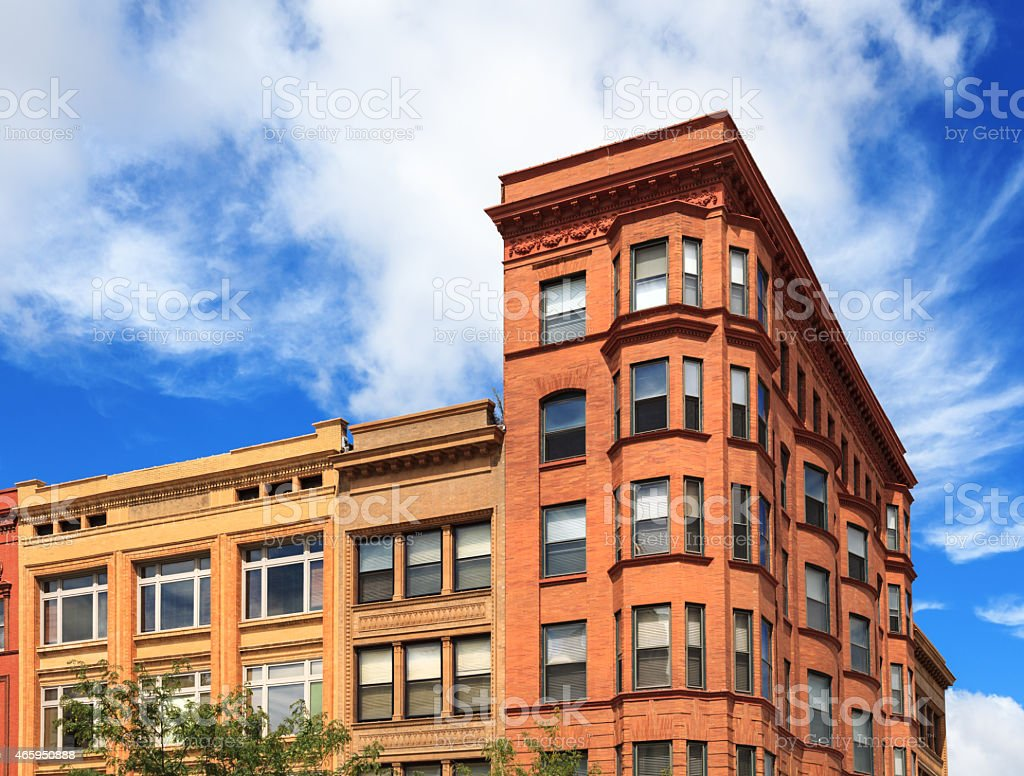 Historic building in downtown Bloomington, IL stock photo