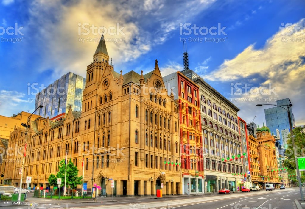 Historic building in Melbourne on Flinders Street - Australia stock photo