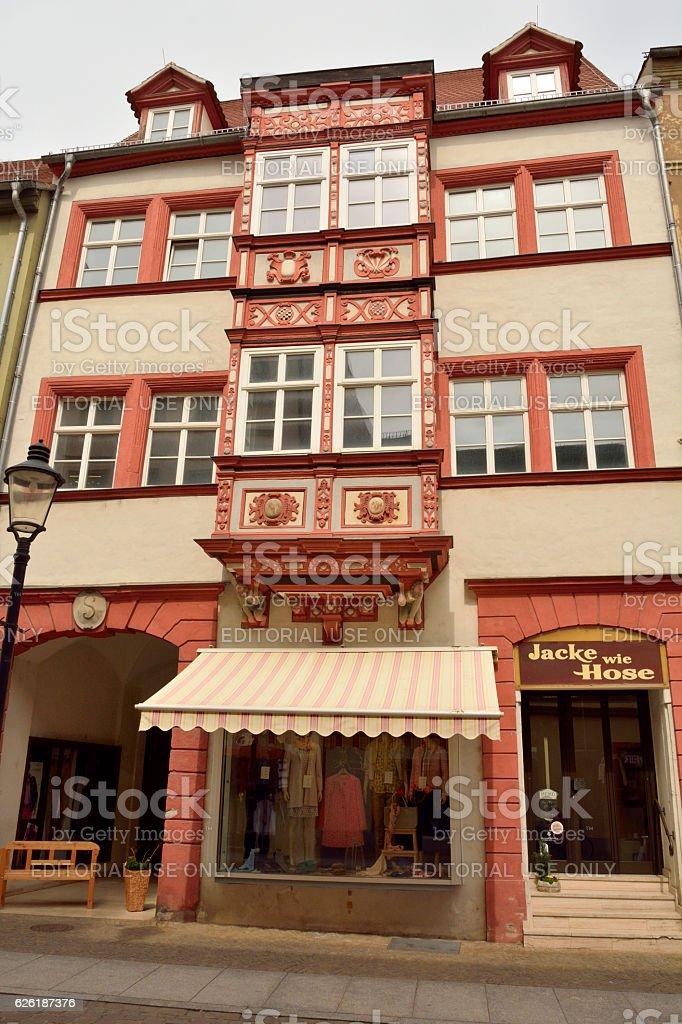 Historic building in Naumburg. stock photo