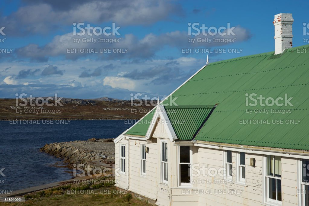 Historic building in the Falkland Islands stock photo