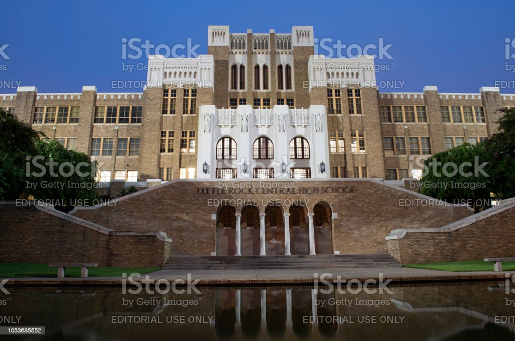 Historic building of Little Rock Central High School stock photo