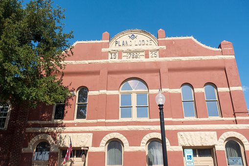 Historic building of Plano Lodge in downtown Plano