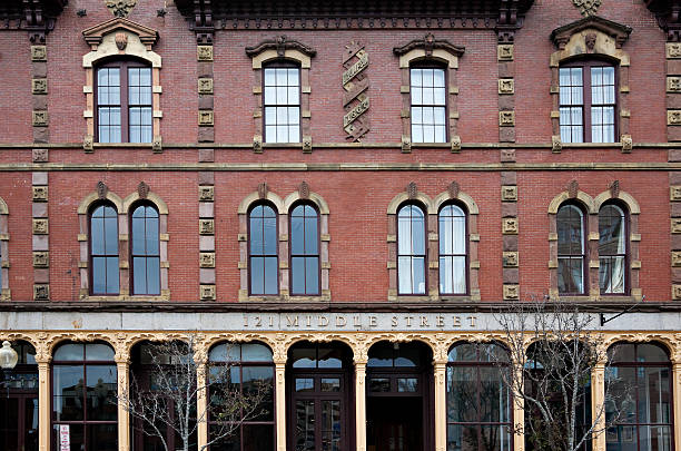 Historic building on Middle Street in Portland, Maine stock photo