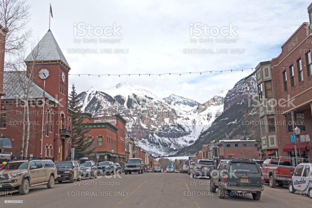 Historic Buildings Along W Colorado Avenue in the Mining Ski Town of Telluride, Colorado stock photo