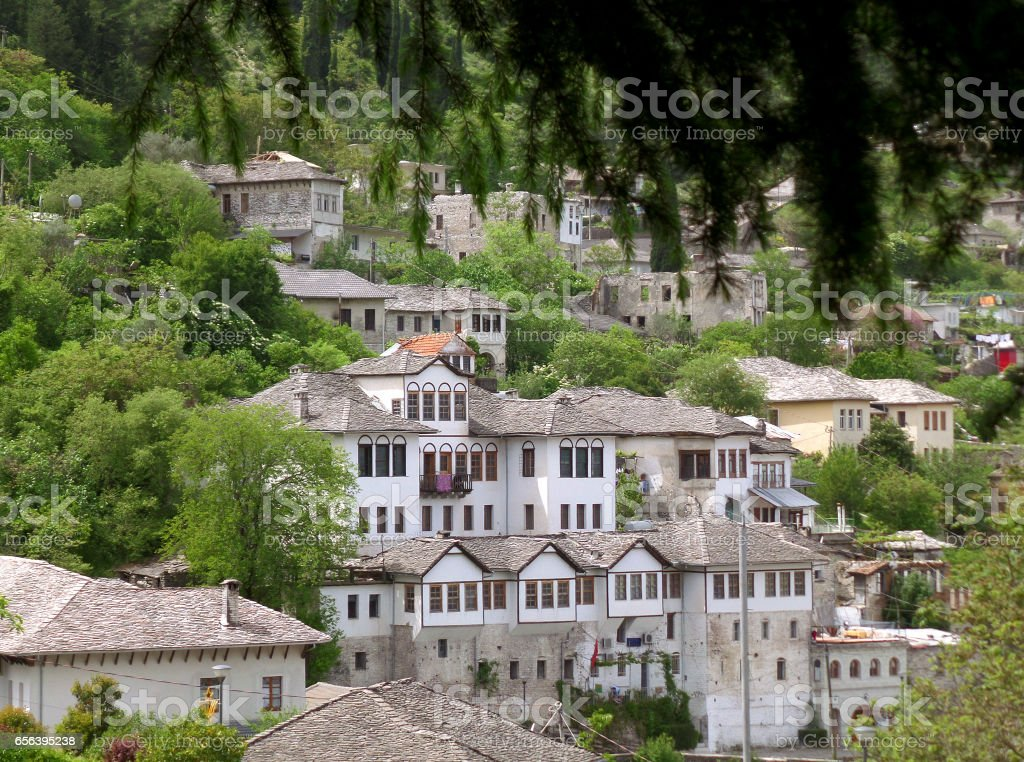 Historic Buildings and Traditional houses in the Old City of Gjirokaster stock photo