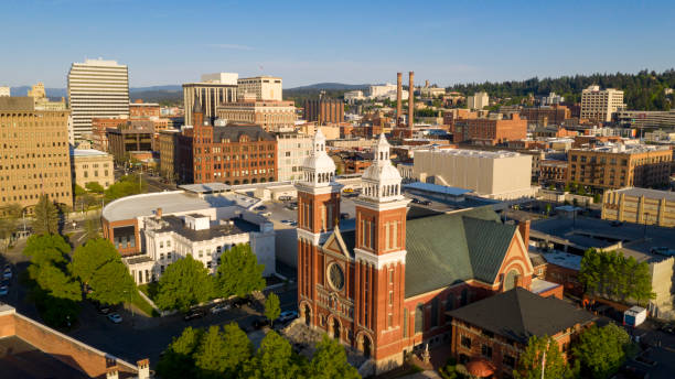 Historic buildings at the forefront in the downtown urban area of Spokane Washington stock photo