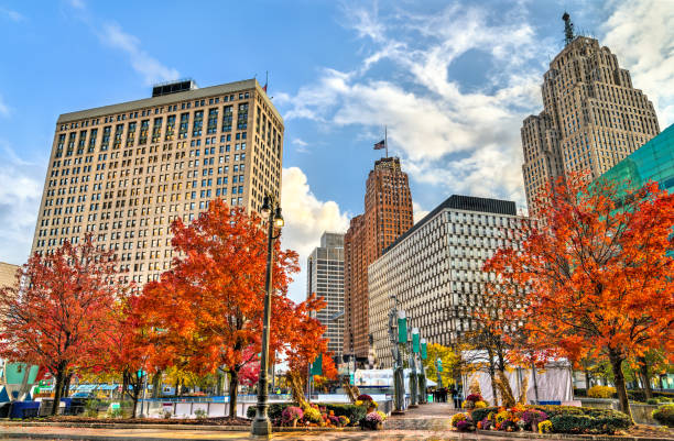 Historic buildings in Downtown Detroit, Michigan stock photo