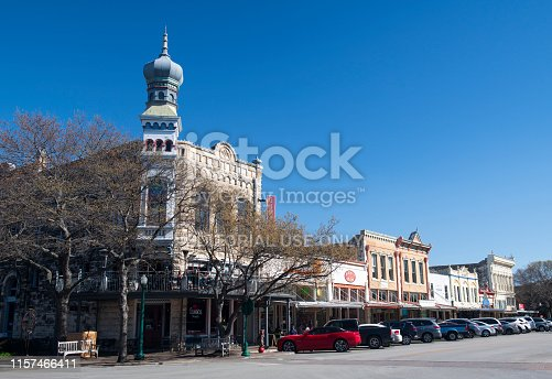 Georgetown, USA - March 13, 2019. Historic buildings in downtown of Georgetown, Texas, with people on sidewalk.