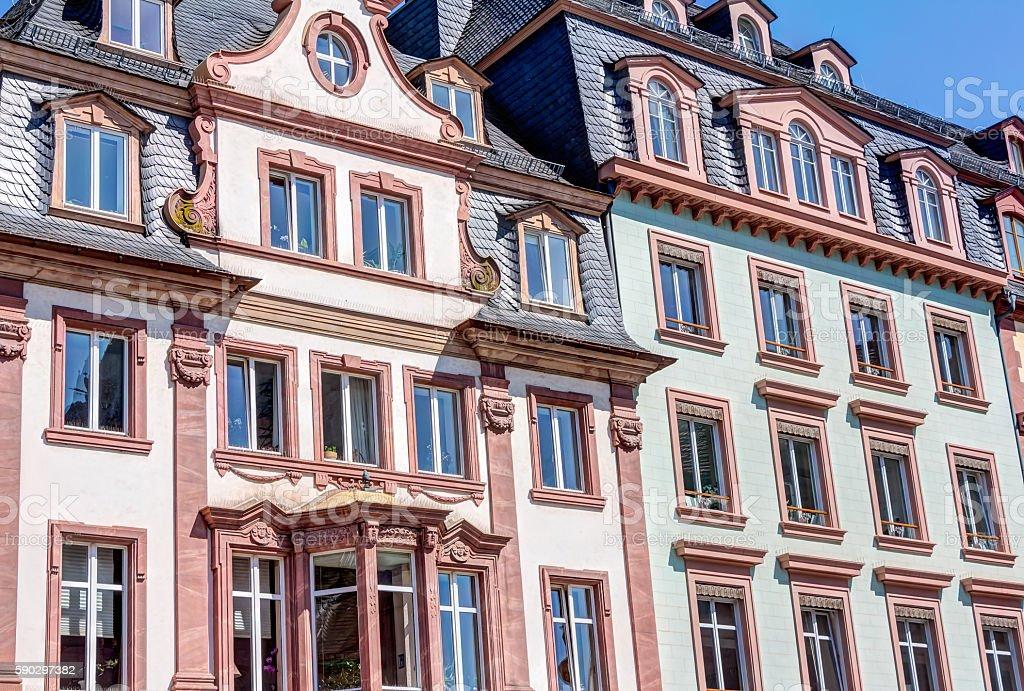 Historic buildings in Mainz royaltyfri bildbanksbilder
