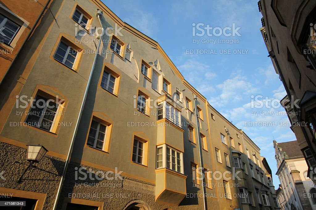 Historic Buildings of Medieval Hall in Tyrol, Austria royalty-free stock photo