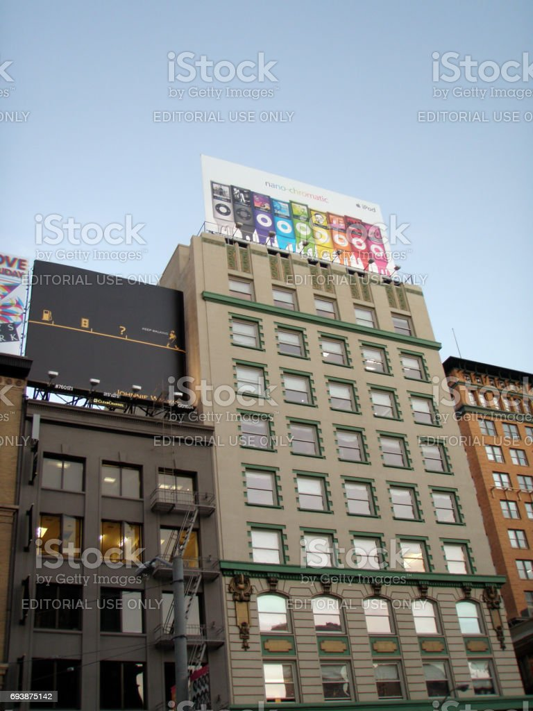 Historic Buildings of Union Square and Billboards above featuring a Apple Ipod Nano stock photo