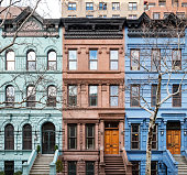 Colorful historic buildings on the Upper West Side of Manhattan in New York City