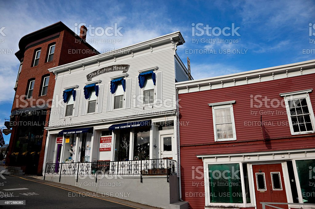 Historic buildings on Wharf Street in Boothbay Harbor, Maine stock photo
