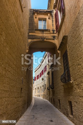 istock Historic buildings with red shutters in the citadel of Mdina, the old capital of Malta 966576706