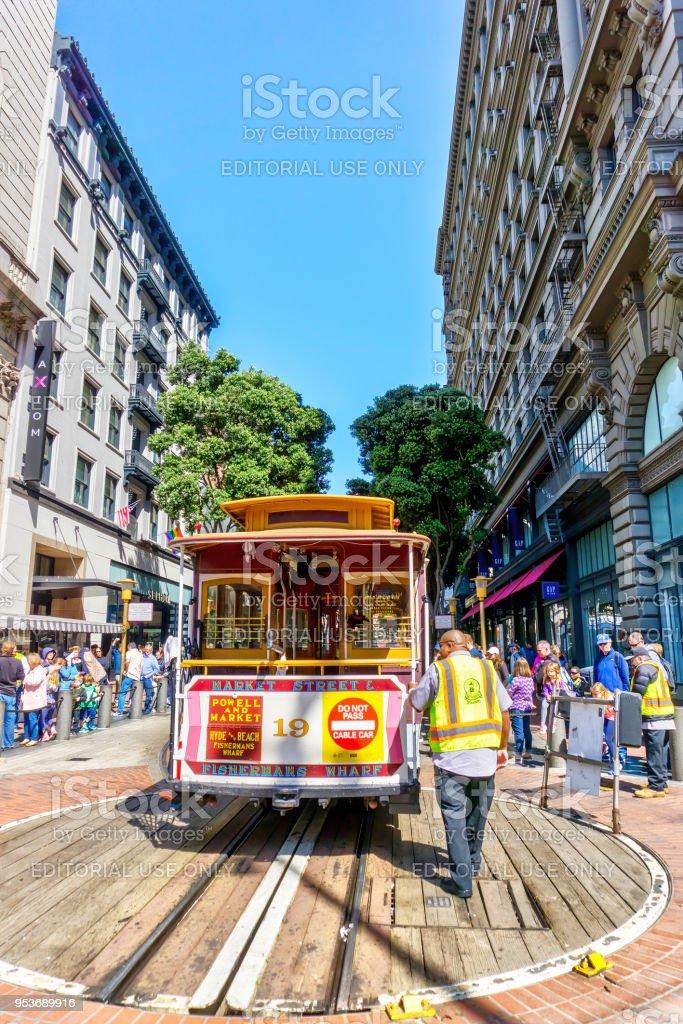 Historic Cable Car in San Francisco, California stock photo
