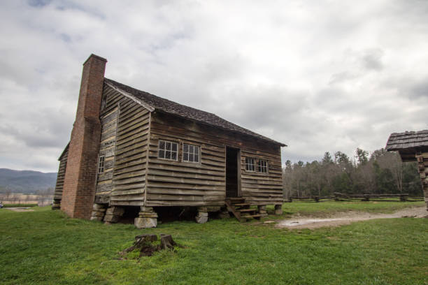 Historic Cades Cove Cabin In The Great Smoky Mountains National Park stock photo