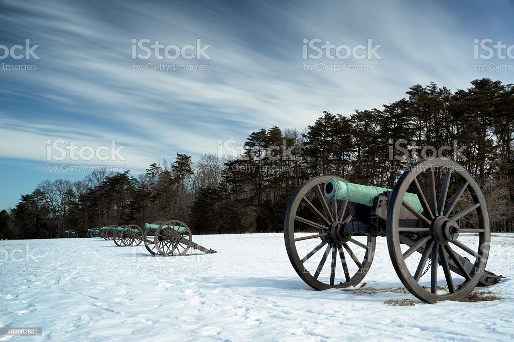 Historic cannons at Manassas National Battlefield Park stock photo