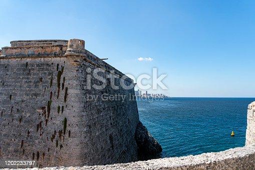Historic cannons in the fort Castillo de los Tres Reyes del Morro in Havana.