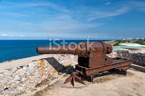 Historic cannons in the fort Castillo de los Tres Reyes del Morro in Havana.