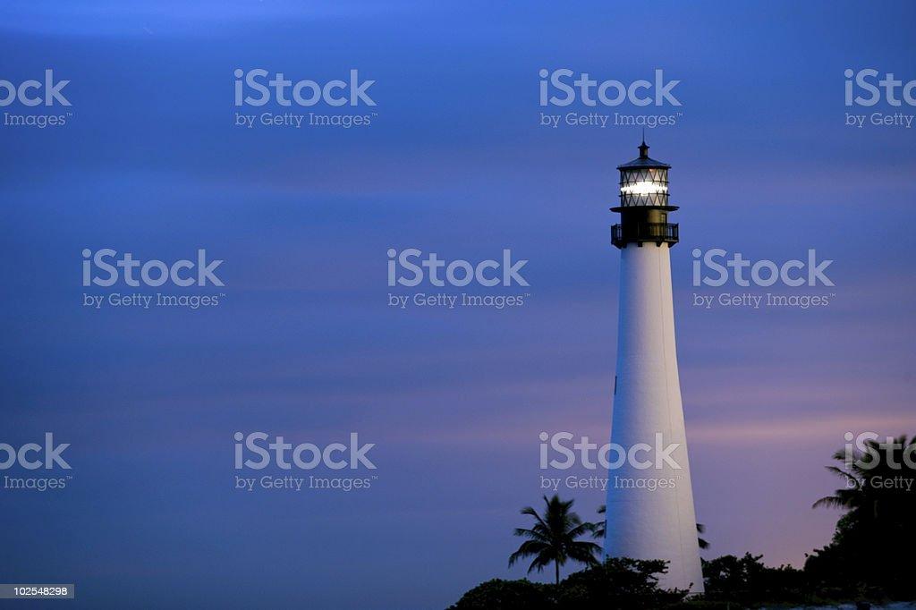 historic cape florida lighthouse at twilight royalty-free stock photo