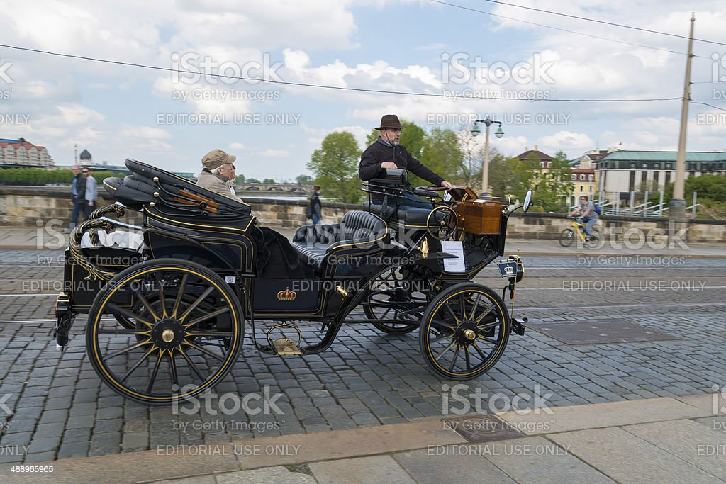 historic car in Dresden for sightseeing tours stock photo