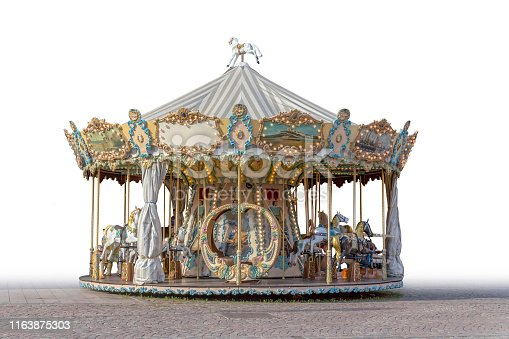 partly isolated historic carousel seen in Mulhouse  in the Alsace region in France