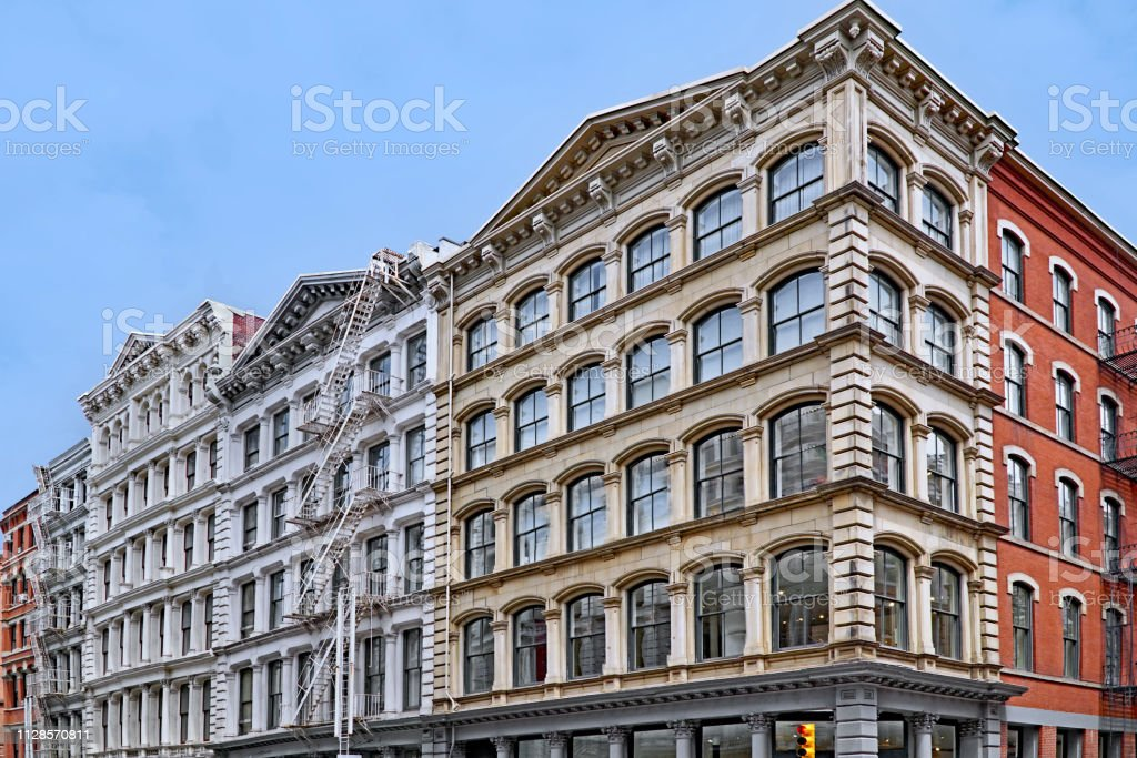 Historic cast iron buildings, used as loft apartments and shops,...