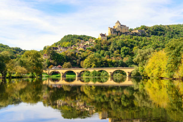 Historic Castelnaud Village and Chateau stock photo