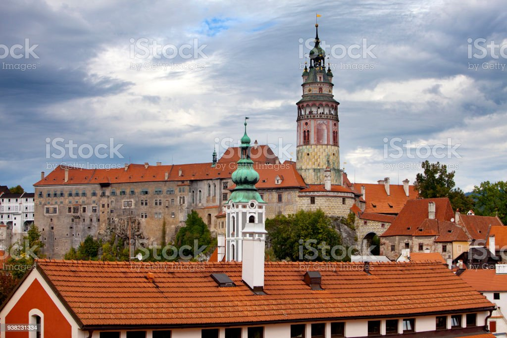 historic castle in Cesky Krumlov. Czech Republic. stock photo