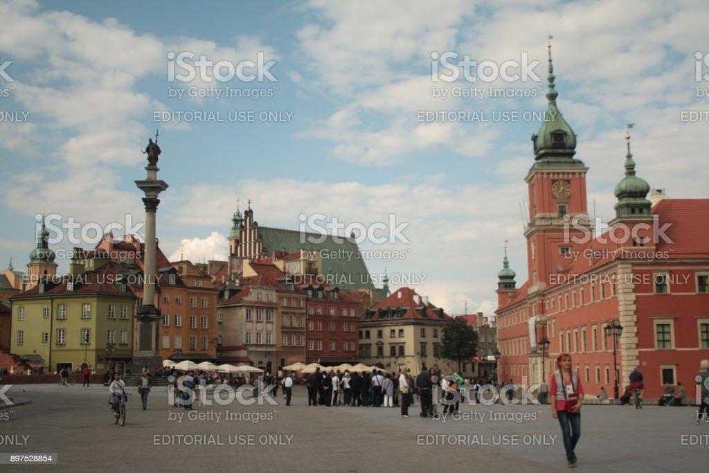 Historic Castle Square in Warsaw, Poland stock photo