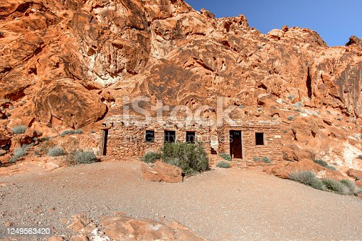 Historic cabins built by the Civilian Conservation Corps in the 1930's at the Valley Of Fire State Park in Nevada. The cabins are now preserved historic structures and owned by the state of Nevada as part of the state park system.