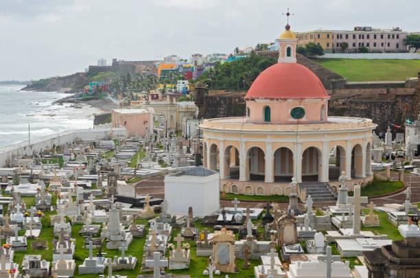 Historic Cemetery and Coastline of Old San Juan stock photo